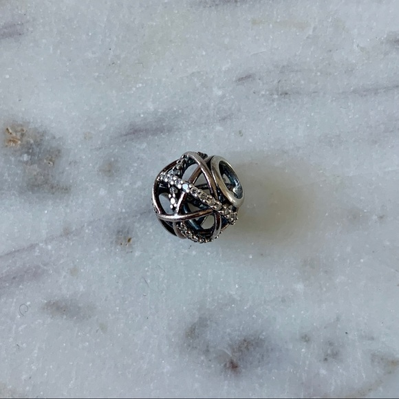 Pandora silver charm w/ Cubic Zirconia